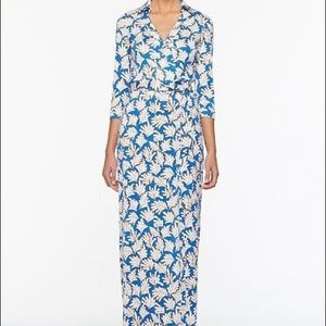 DVF Abigal Wrap Maxi Dress in Blue Coral Leaves